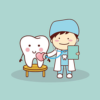 Happy Tooth with dentist cartoon