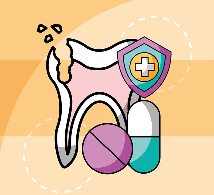 broken tooth and capsule pills medication dental vector